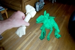 Albasaurus the gfp velocirabbit sits